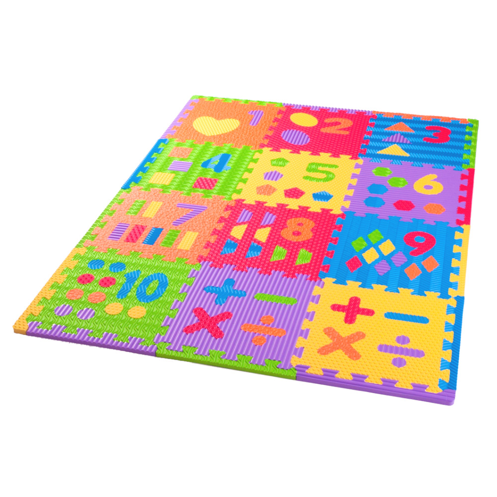 Sensory Number Play Mat 12 Pack Soft Floor Kids